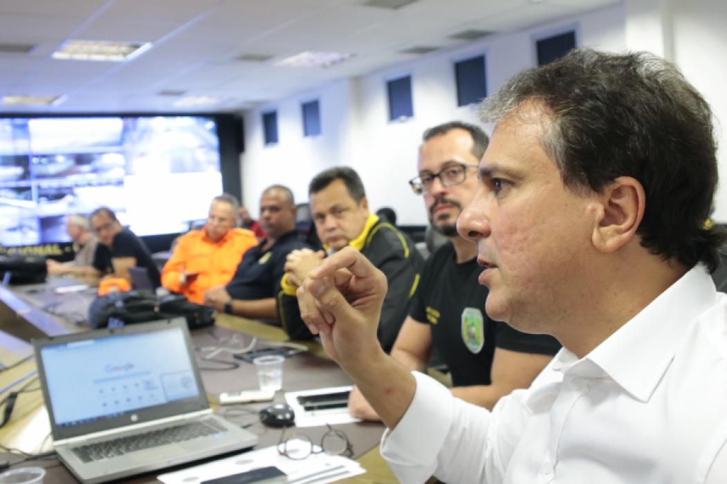 FORTALEZA, CE, BRASIL, 08-01-2019: Entrevistas com o governador Camilo Santana na SSPDS sobre os ataques que estão em seu oitavo dia. (Foto: Júlio Caesar/O POVO)