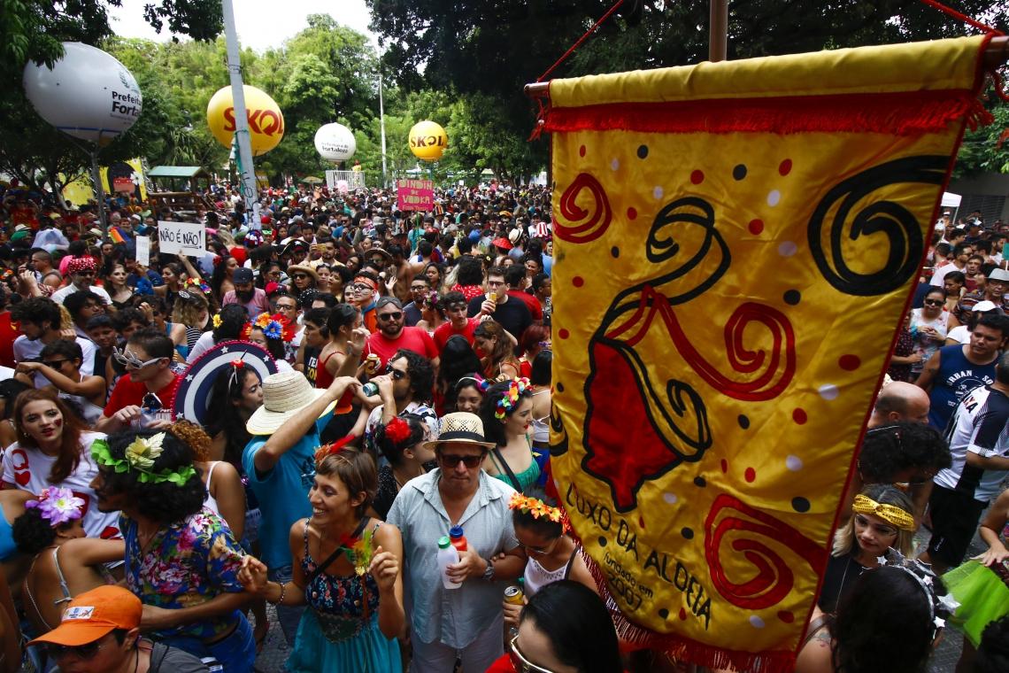 FORTALEZA, CE, BRASIL, 10-02-2018: Foliões fantasiados brincam no bloco Luxo da Aldeia. Carnaval 2018 - Bloco Luxo da Aldeia na praça da Gentilândia, no Benfica. (Foto: Mateus Dantas/O POVO)