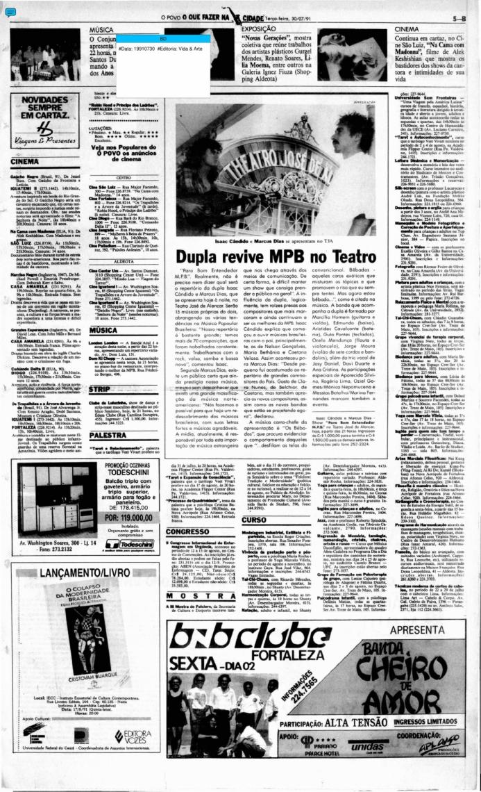 Fac-símile do Vida&Arte em 30 de julho de 1991. O caderno divulgou, na ocasião, a apresentação de Marcus Dias e Isaac Cândido no Theatro José de Alencar