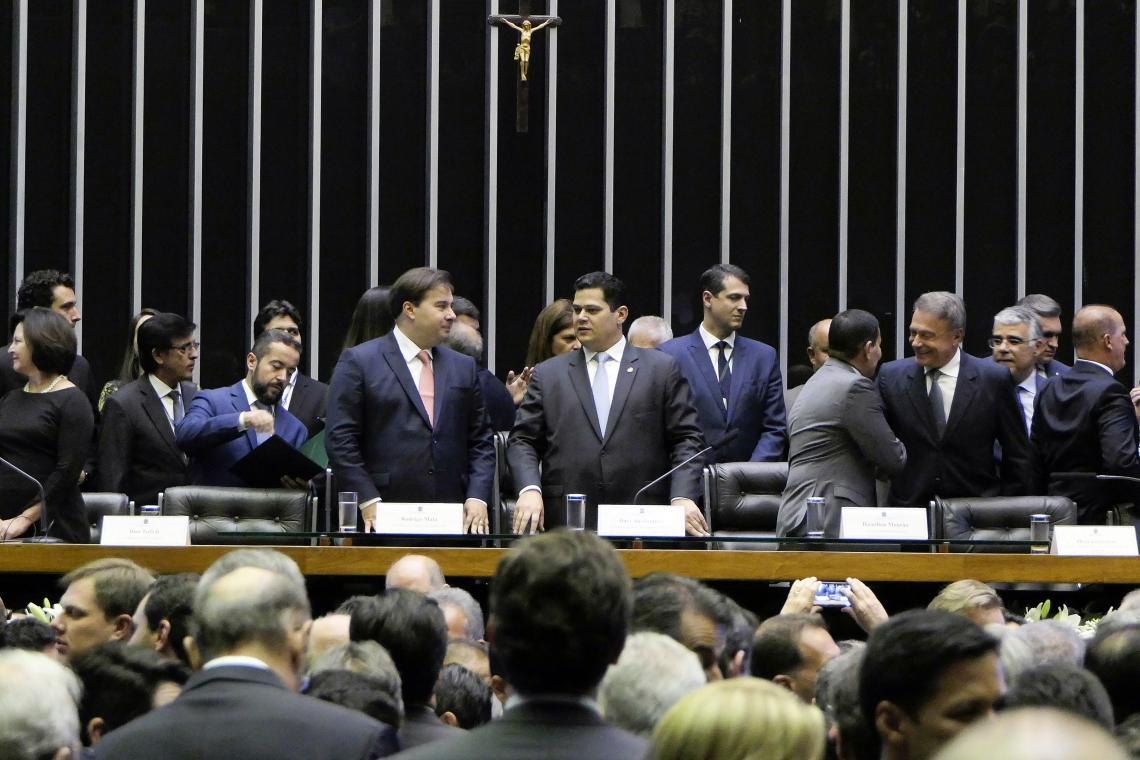 Rodrigo Maia e Davi Alcolumbre na inauguração da 1ª Sessão Legislativa Ordinária da 56ª Legislatura
