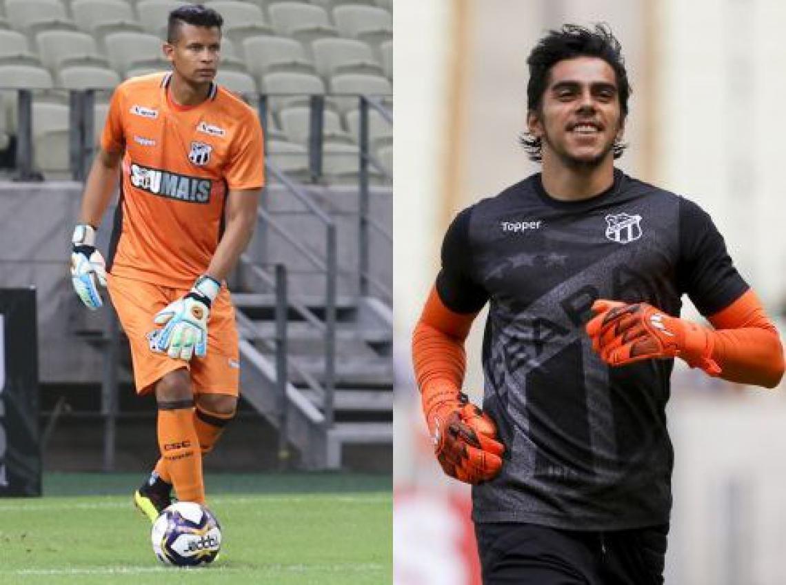 Diogo Silva (e) machucou a mão e Richard (d) será o goleiro titular do Ceará.
