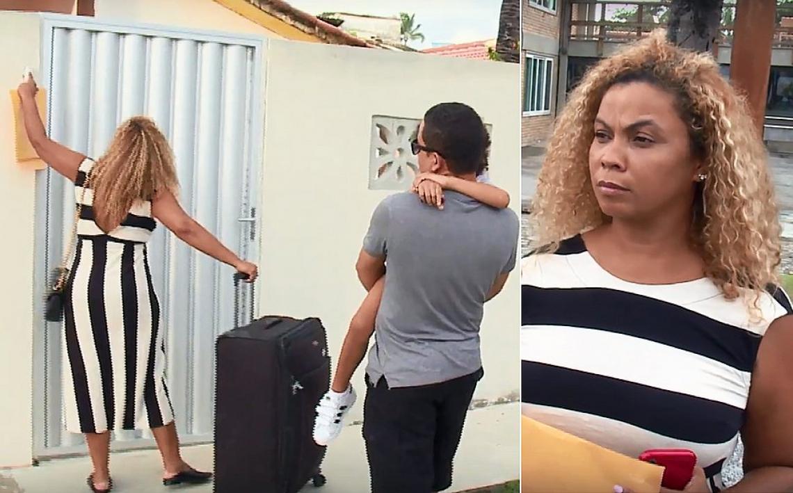Ainoã Edney e família dão de cara com o portão, na própria casa (Foto: Reprodução/TV Jornal)