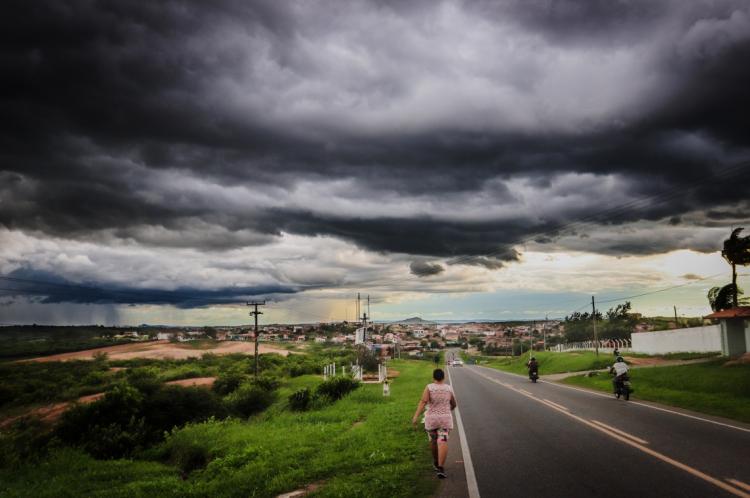 Tempo nublado em Mombaça, interior do Ceará, durante o período de chuvas desta semana