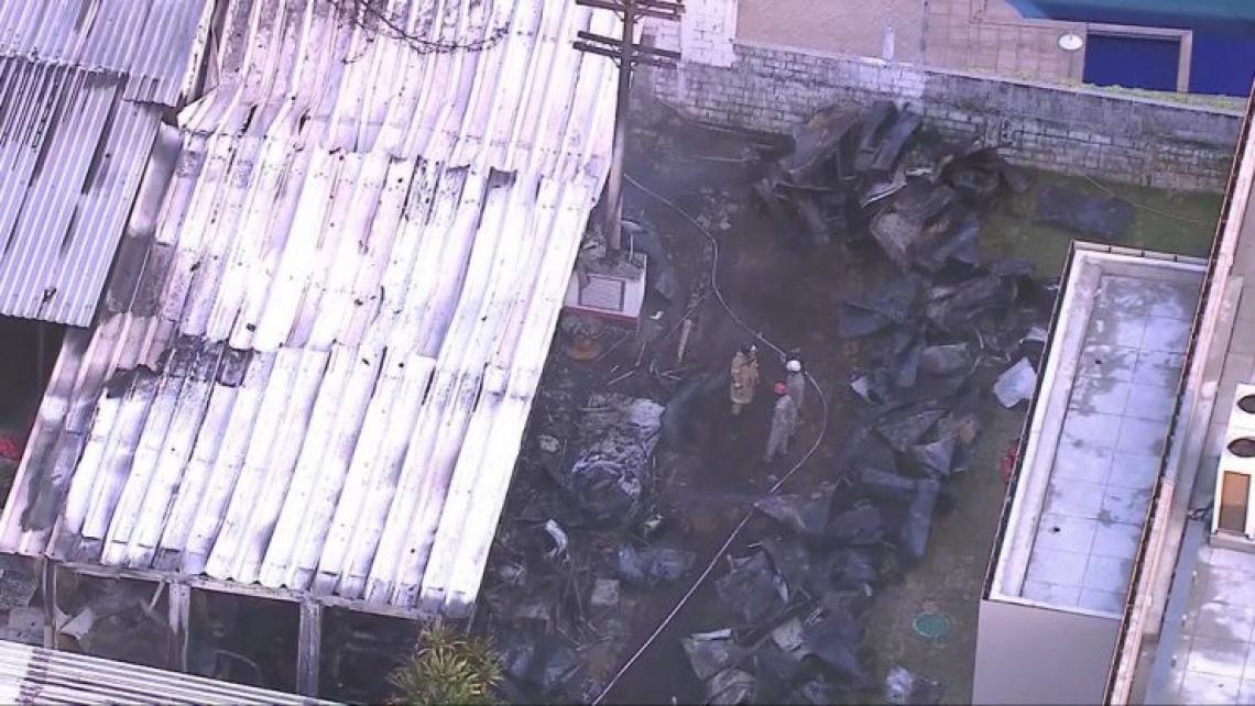 O fogo atingiu o alojamento da categoria de base do Flamengo, deixando 10 mortos (Foto: Reprodução/TV Globo)