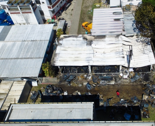 Foto aérea mostra como ficou o centro de treinamento do Flamengo após incêndio. Dez pessoas morreram (Foto: Thiago Ribeiro/AFP)