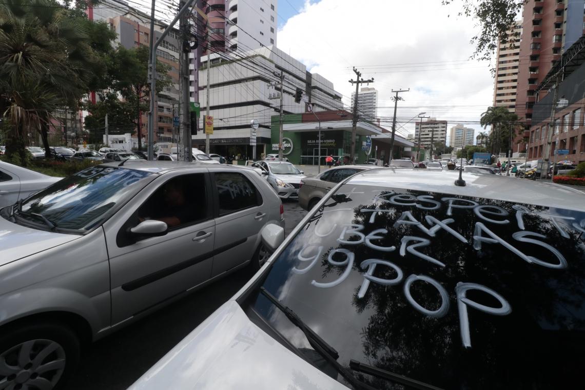 Protesto dos motoristas de aplicativo, Bairro do Coco.