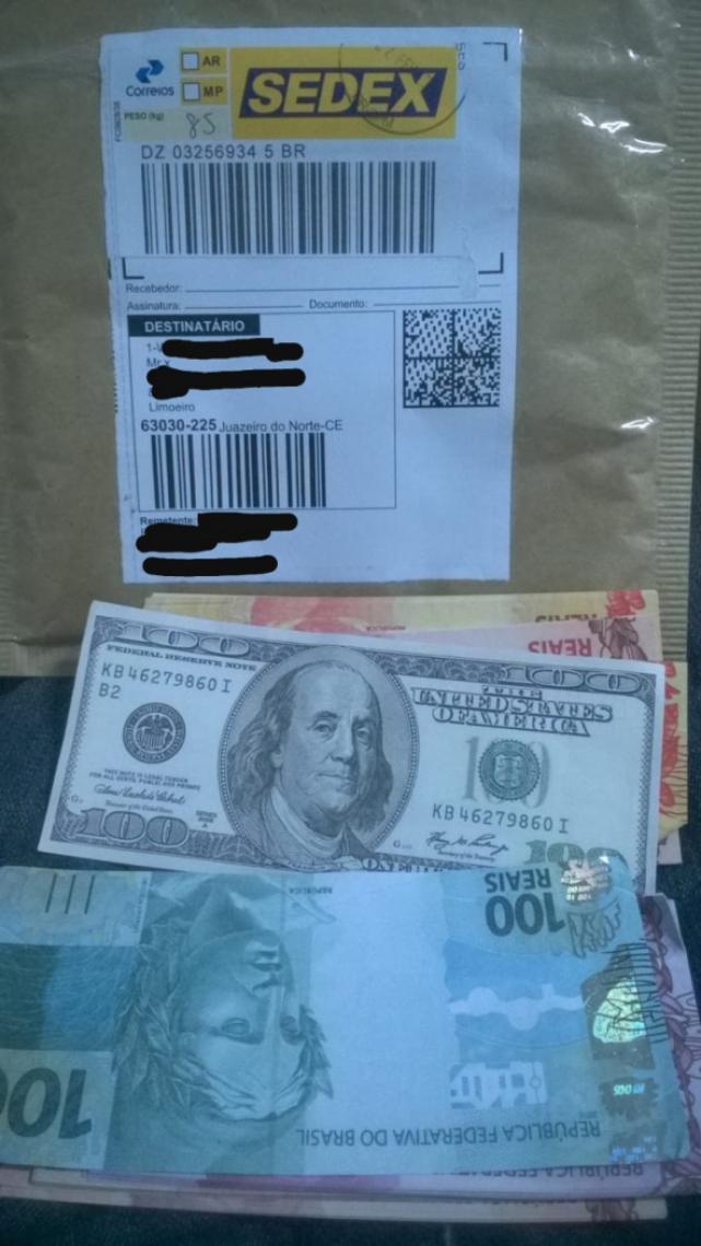 Dinheiro foram apreendido em Juazeiro do Norte (FOTO: Divulgação PF)
