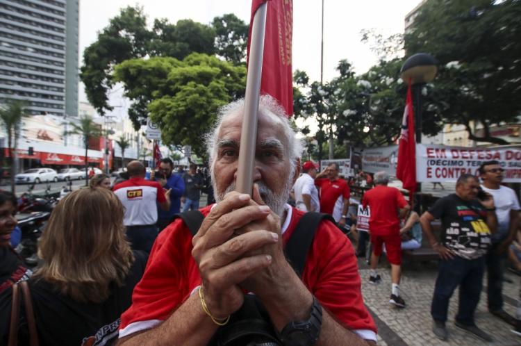 Manifestantes protestaram contra a reforma da Previdência.