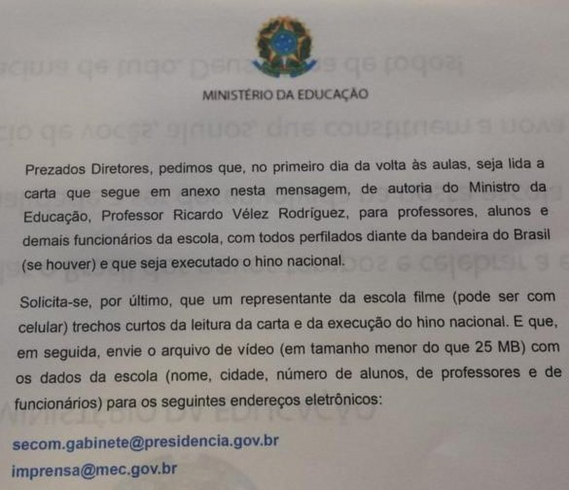 Mensagem do e-mail recebido por diretores de escolas municipais do País.