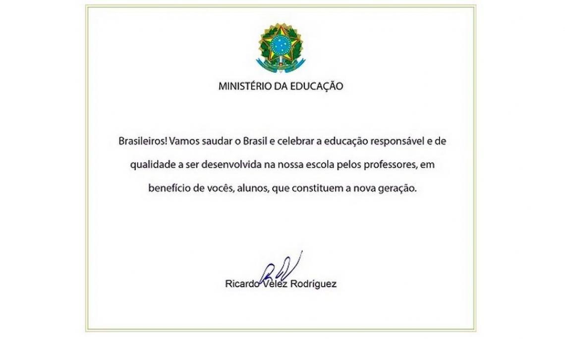 Nova versão da carta enviada pelo Ministro da Educação o professor Ricardo Vélez Rodríguez para às escolas de todo o País.