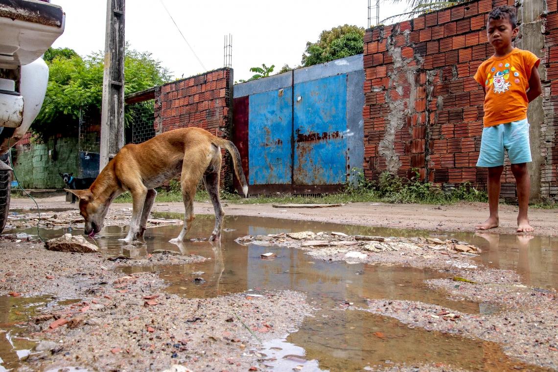 Situação de crise dos moradores do bairro Conjunto Palmeiras depois das chuvas. (Foto: Gustavo Simão/ Especial para O POVO)