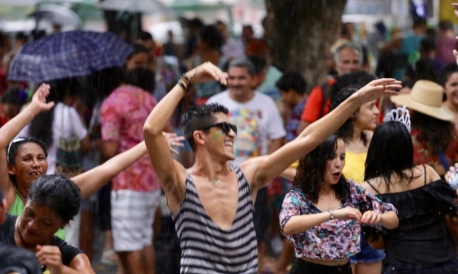Festa fica ainda melhor com chuva no Benfica
