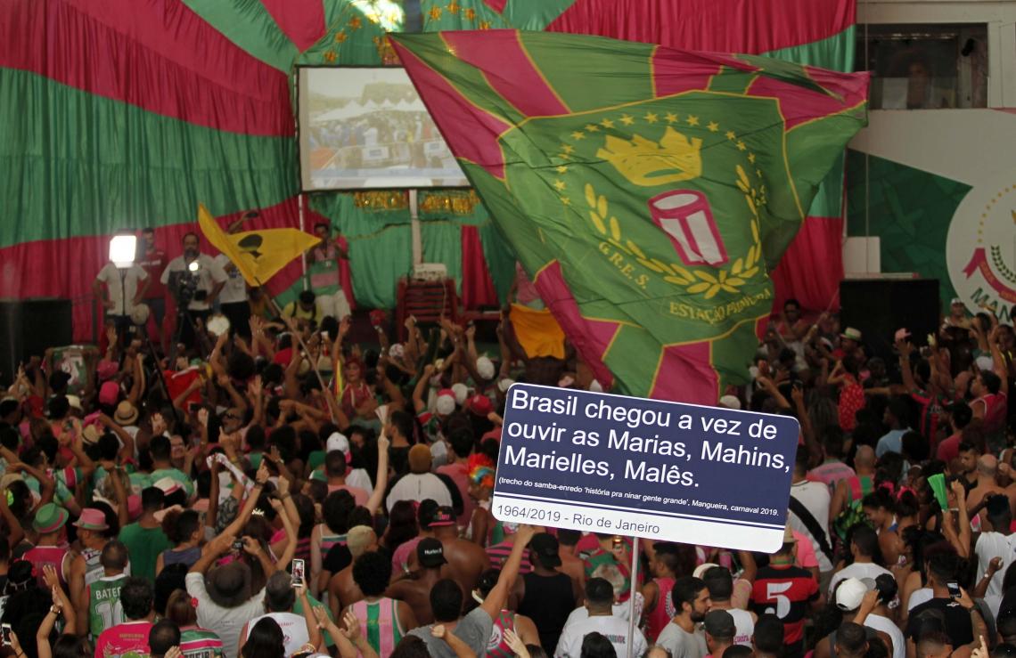 Festa na quadra da Estação Primeira de Mangueira comemorou o título