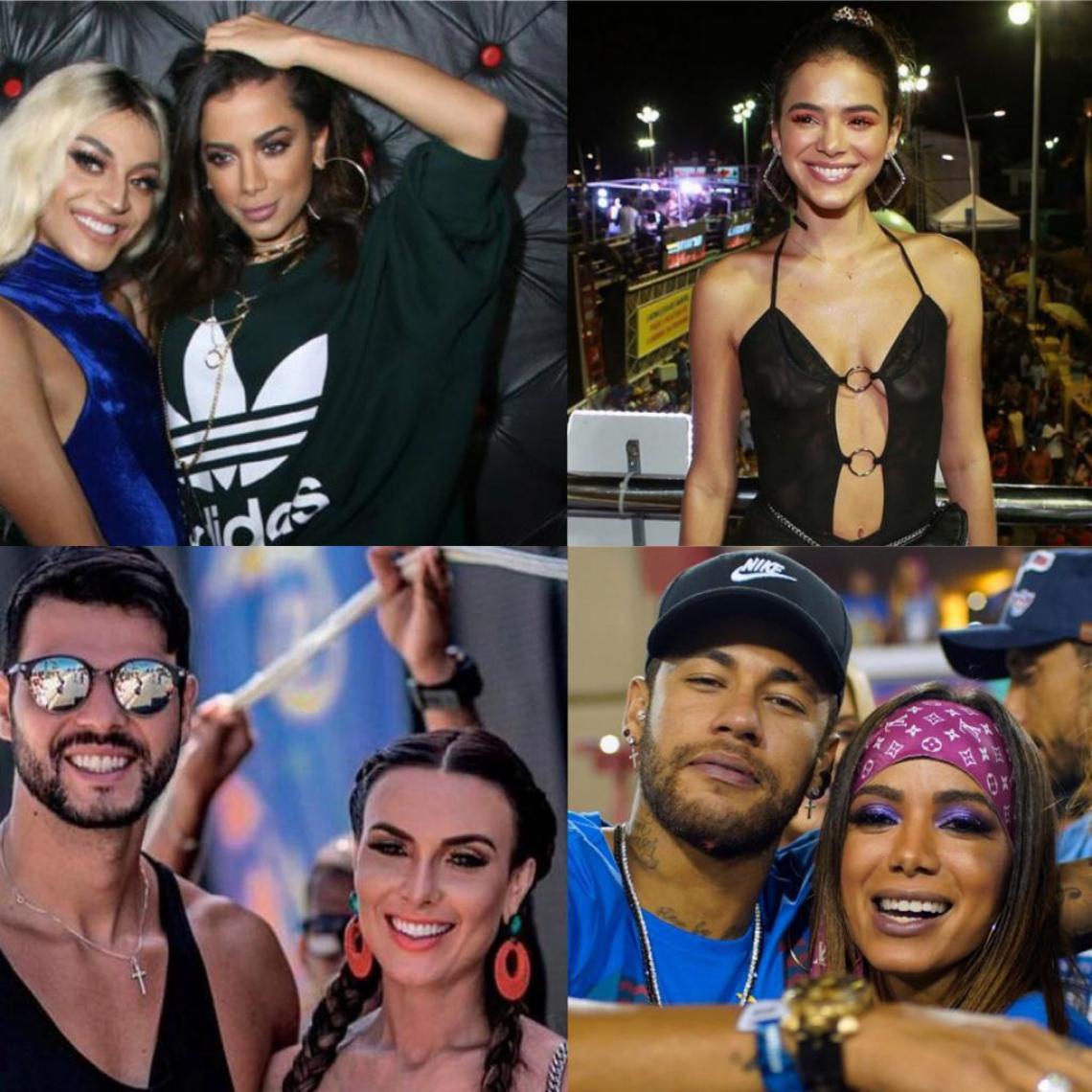 Anitta, Pabllo Vittar, Neymar, Bruna Marquenize, Nicole Bahls e Marcelo Bimbi protagonistas de bafão durante o Carnaval 2019. (Foto: Reprodução Twitter e Instagram)