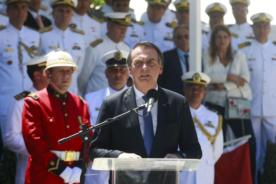 O PRESIDENTE discursou durante aniversário do Corpo de Fuzileiros Navais