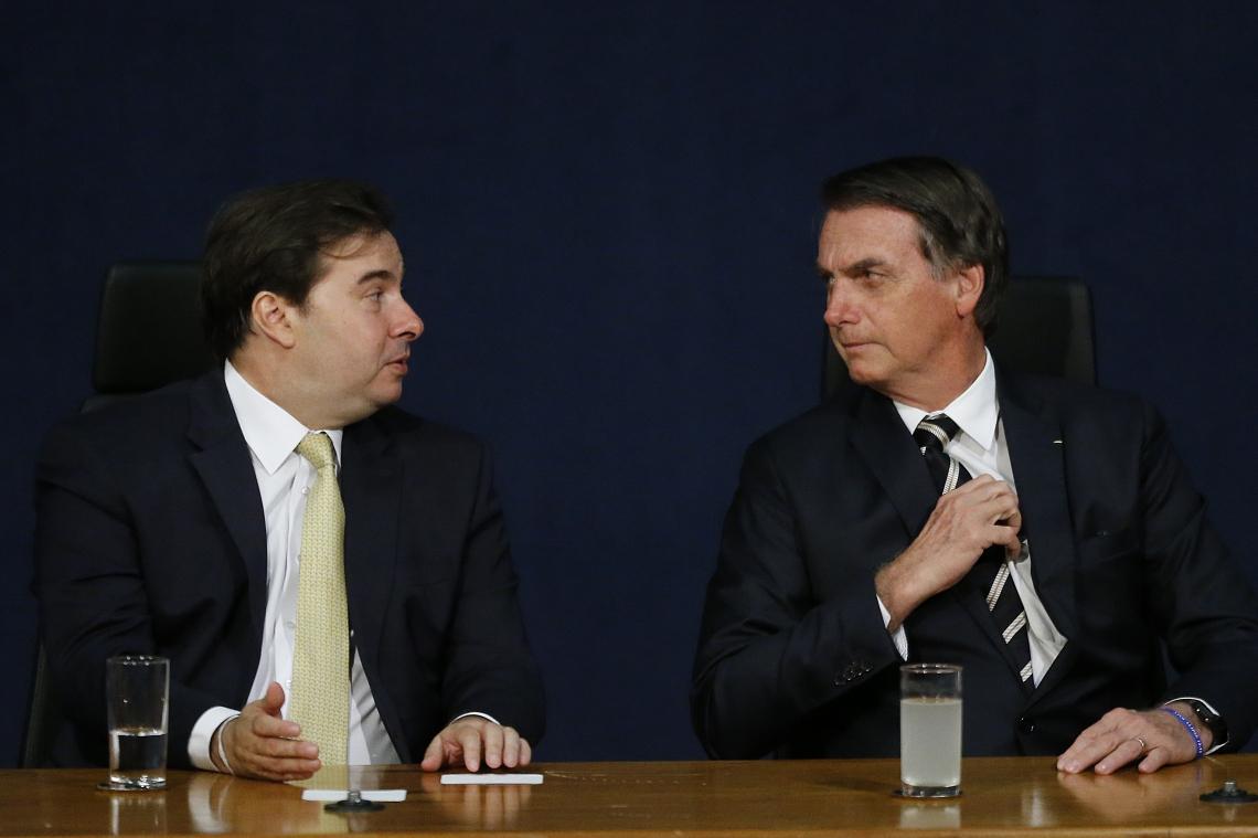 RODRIGO Maia e Jair Bolsonaro se reuniram no sábado, em Brasília