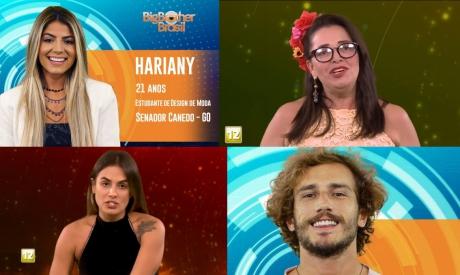 Carolina, Tereza, Alan e Hariany estão no paredão do BBB19. Vote na enquete