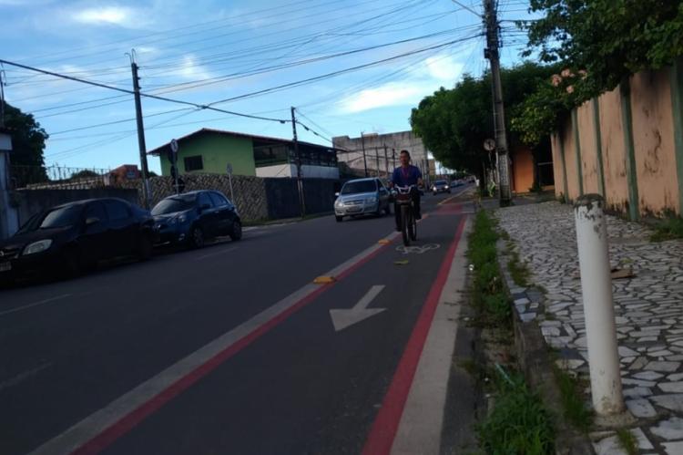 Rua José Meneleu recebe ciclofaixa (Foto: Prefeitura de Fortaleza/Divulgação)