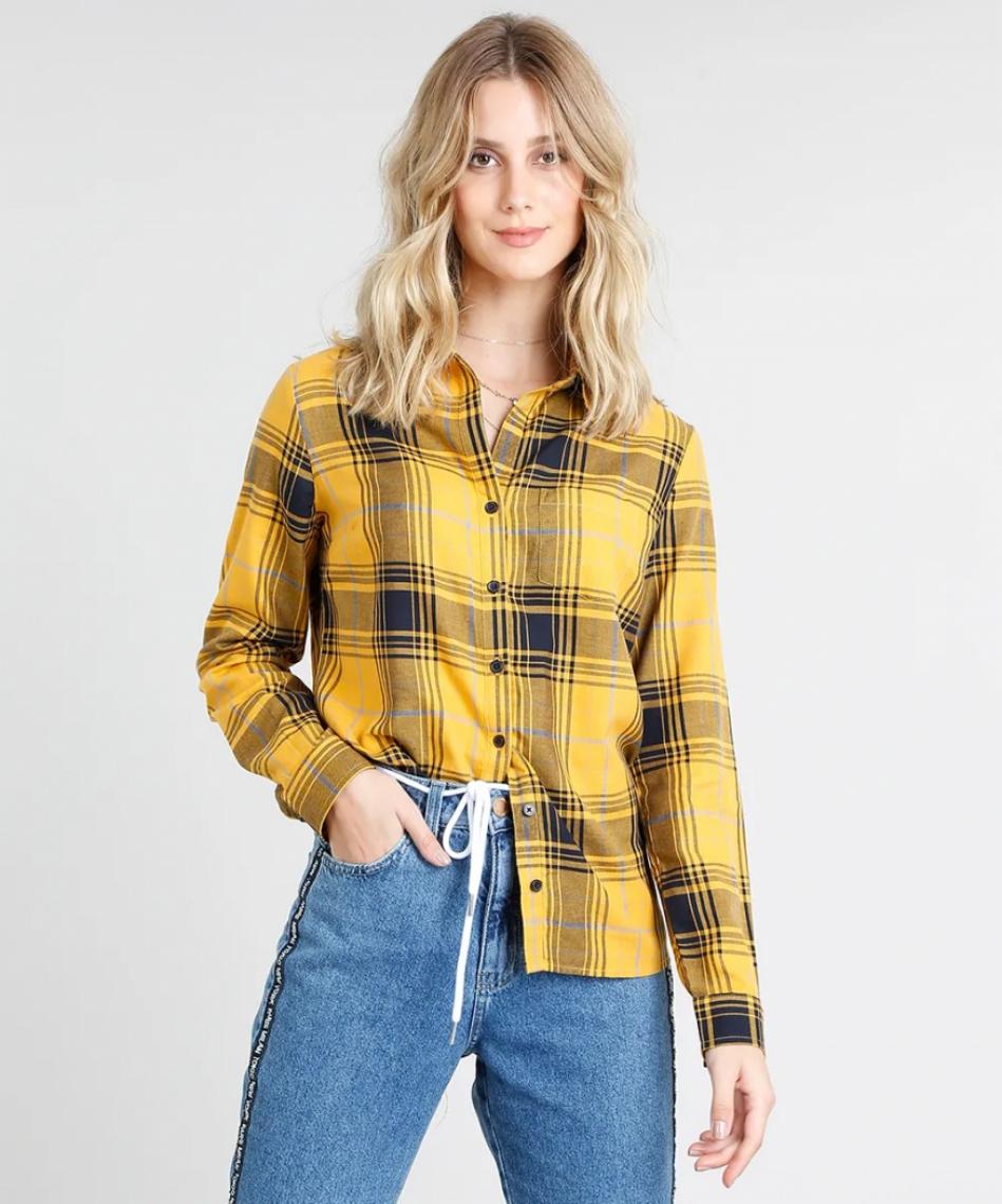 22f5c6a1af (C A) Camisa feminina xadrez com bolso manga longa mostarda