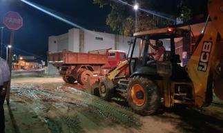 A chuva forte provocou transtornos na cidade do Crato na noite desta segunda-feira, 18. (Foto: Divulgação/Prefeitura do Crato)