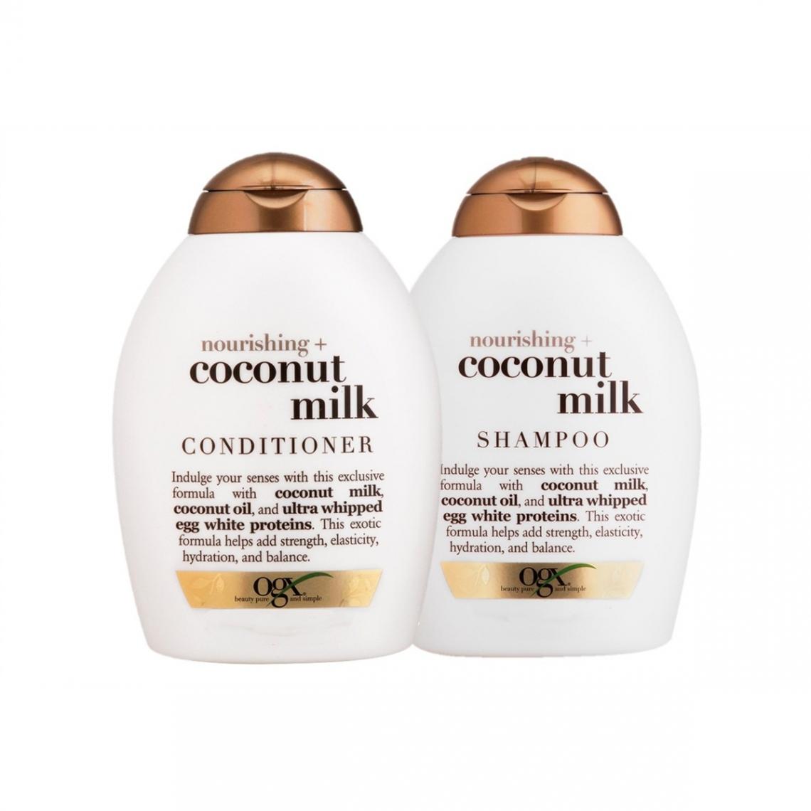 Linha Organix Nourishing Coconut Milk,  da OGX_ Shampoo   condicionador perfeitos para cabelos normais a secos, ricos em leite (nutrição) e óleo (brilho) de coco e proteínas da clara do ovo que aumenta a resistência e elasticidade dos fios.