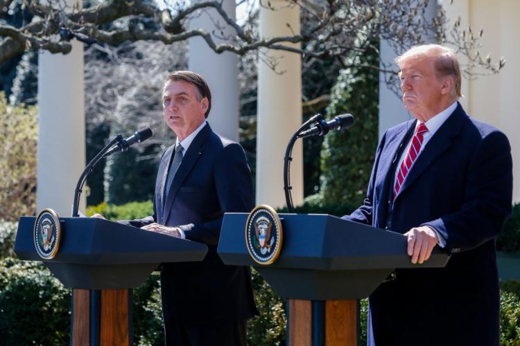 O presidente do Brasil, Jair Bolsonaro, e o presidente dos EUA, Donald Trump, durante uma entrevista coletiva no Rose Garden da Casa Branca, em Washington (EUA) (Foto: Isac Nóbrega/PR)