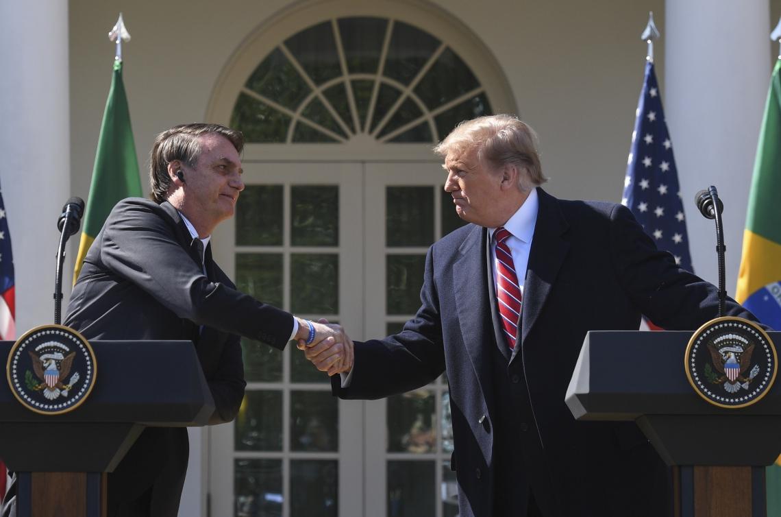 Bolsonaro e Trump durante coletiva de imprensa