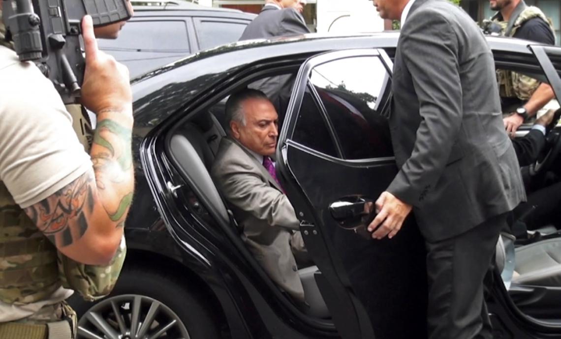 Ex-presidente Michel Temer no momento em que foi preso