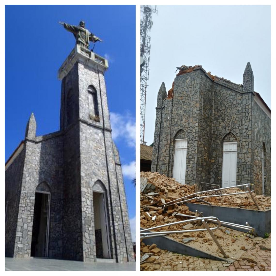 Antes e depois da torre