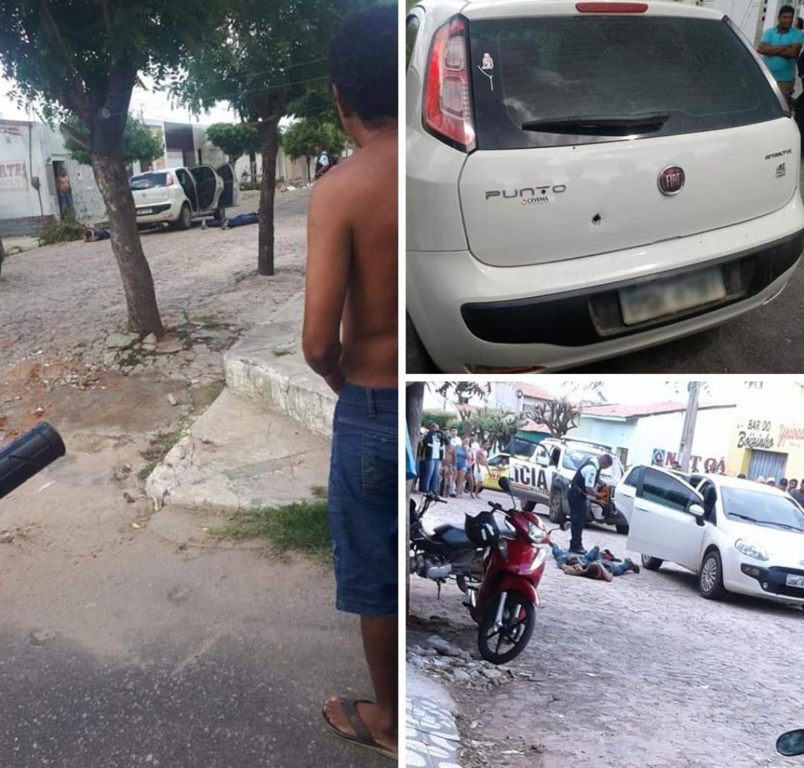 Os suspeitos ainda chegaram a abordar uma mulher, em tentativa de roubo ao veículo dela, um Fiat Punto, mas foram contidos pelos policiais