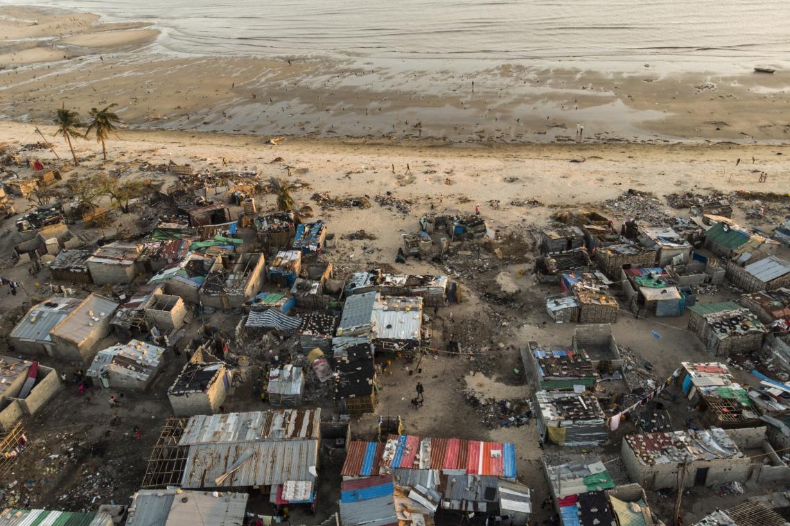 Imagem da Praia Nova, em Moçambique, após o ciclone Idai