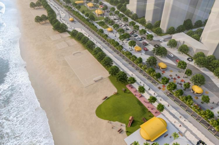 Projeto da Prefeitura de Fortaleza é de engordar a faixa de areia da Beira Mar avançando 80 metros mar adentro, em extensão de 1,2 mil metros