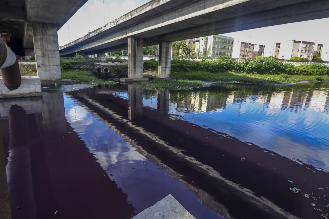 Braço do Rio Cocó fica com a cor roxa próximo ao Lagamar