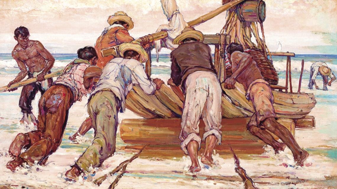 """""""Rolando a jangada para o mar"""" (1941), de Raimundo Cela"""