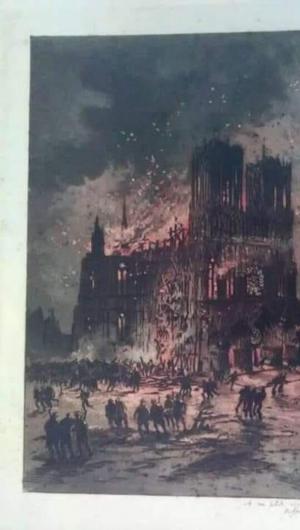 Ela representa a Catedral de Reims, após incêndio em processo de construção, entre 1211 e 1481.