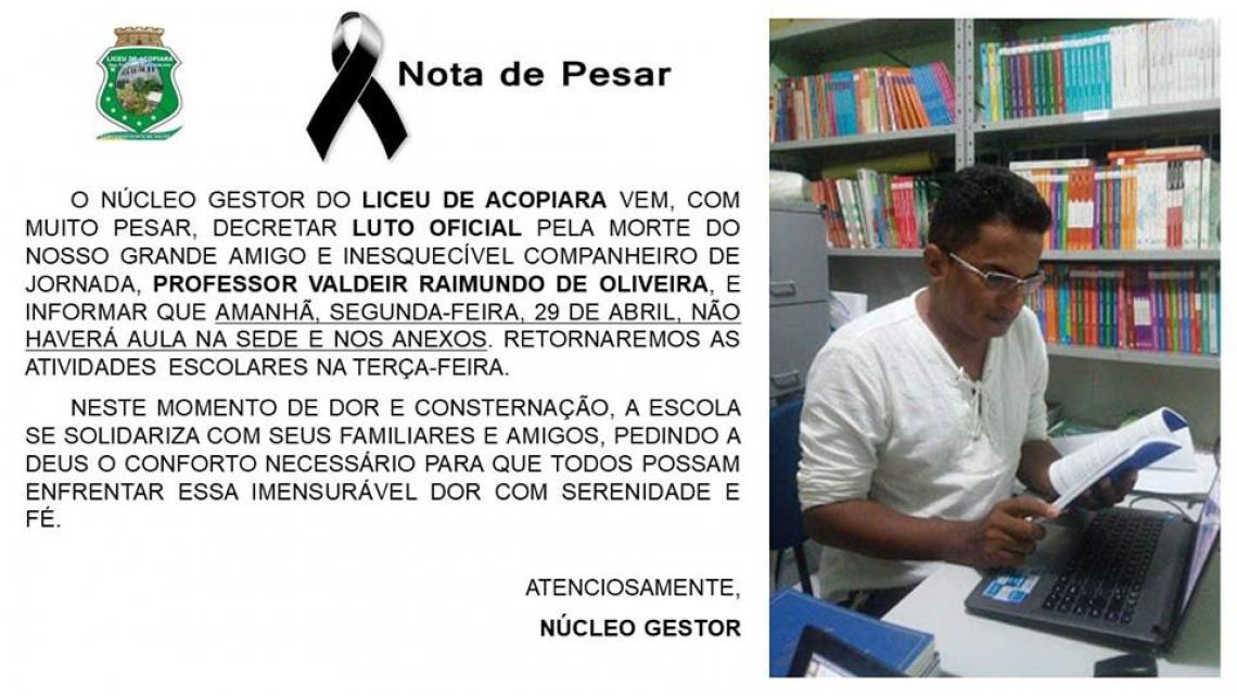 O professor trabalhava no Liceu de Aracoiaba