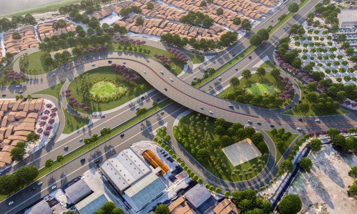 Projeto de como deverá ficar o novo viaduto da Alberto Craveiro sobre a BR-116