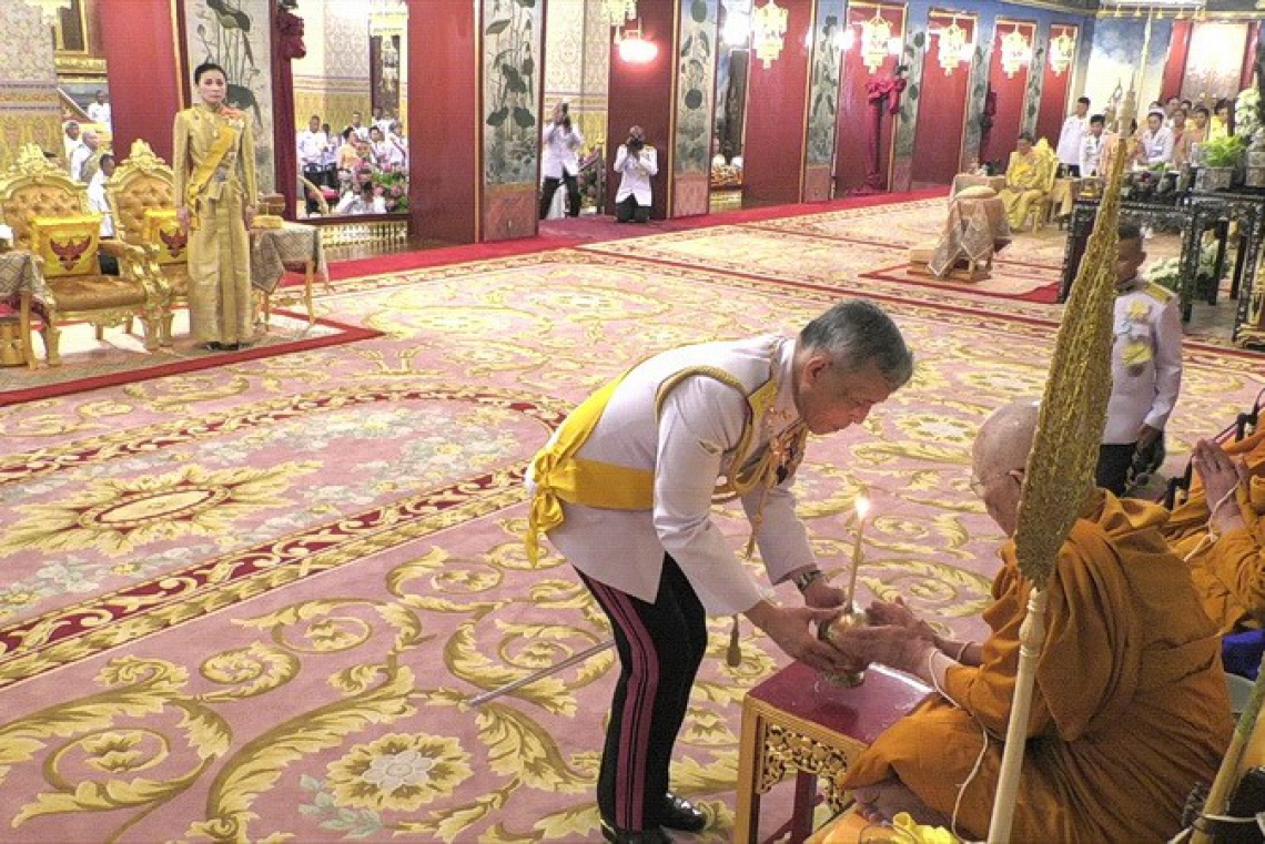 This handout from the Thai Royal Household Bureau taken and released on May 3, 2019 shows Thailand's King Maha Vajiralongkorn participating in a ritual during a ceremony to pay homage to his ancestors, at Paisarn Taksin Throne Hall in Bangkok on May 3, 2019, ahead of the royal coronation which will take place from May 4 to 6. (Photo by Handout / Thai Royal Household Bureau / AFP) / XGTY / -----EDITORS NOTE --- RESTRICTED TO EDITORIAL USE - MANDATORY CREDIT