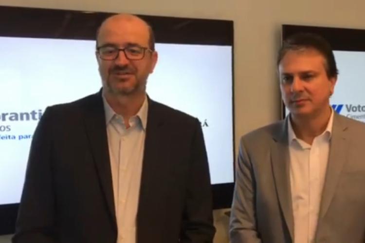 Camilo ao lado de Marcelo Castelli, presidente da Votorantim Brasil. A empresa já está instalada no Ceará há mais de 10 anos