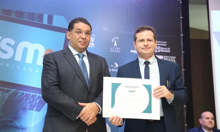 Secretário do Tesouro NacionalMansueto Almeida e o empresário e jornalista Marcos André Borges na palestra-debate que celebrou os 30 anos da VSM Comunicação.