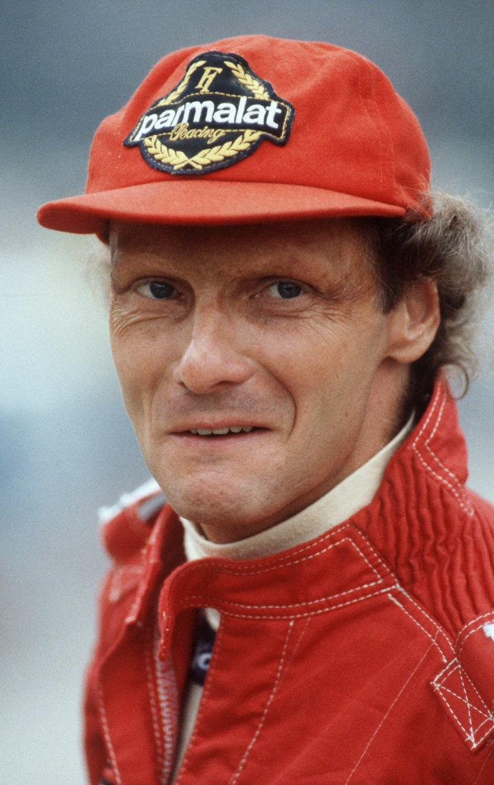 Picture taken on November 30, 1983 in Germany shows Austrian Formula One pilot Niki Lauda in his racing dress. - Legendary Formula One driver Niki Lauda has died at the age of 70, his family said in a statement released to Austrian media early Tuesday, May 21, 2019. (Photo by Harry MELCHERT / dpa / AFP) / Germany OUT       Caption