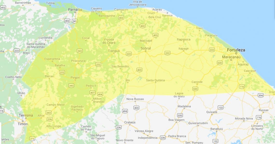 Alerta amarelo foi emitido para parte do Ceará