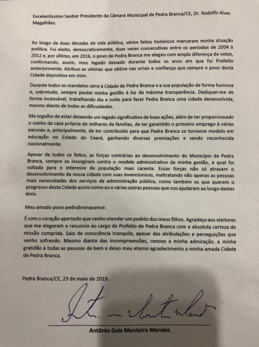 Carta de renuncia do prefeito de Pedra Branca, Antônio Gois.
