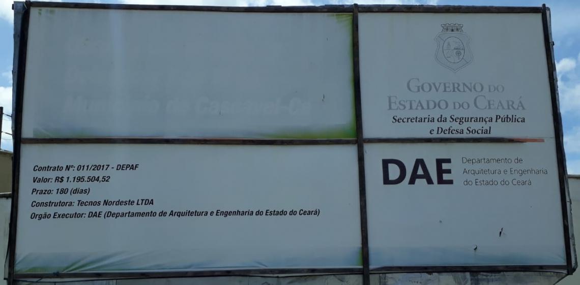 Sob execução do Departamento de Arquitetura e Engenharia do Ceará (DAE), a obra está estimada em R$ 1.295.295,74