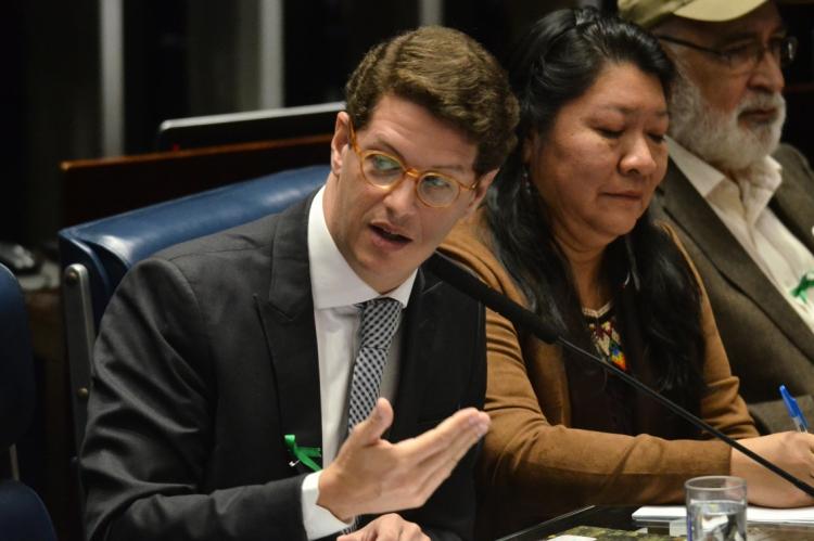 O ministro do Meio Ambiente, Ricardo Salles, durante sessão especial do Senado para celebrar o Dia Mundial do Meio Ambiente.