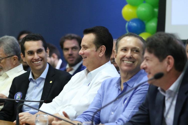 Domingos Neto, Gilberto kassb, Domingos Filho e Cid Gomes. Convenção estadual do PSD. Assembleia Legislativa
