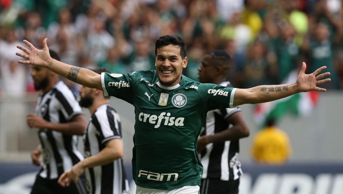 Gustavo Gómez marcou o gol da vitória palmeirense contra a equipe do Botafogo, durante partida valida pela sexta rodada, do Campeonato Brasileiro, Série A, no Estádio Mané Guarrincha.