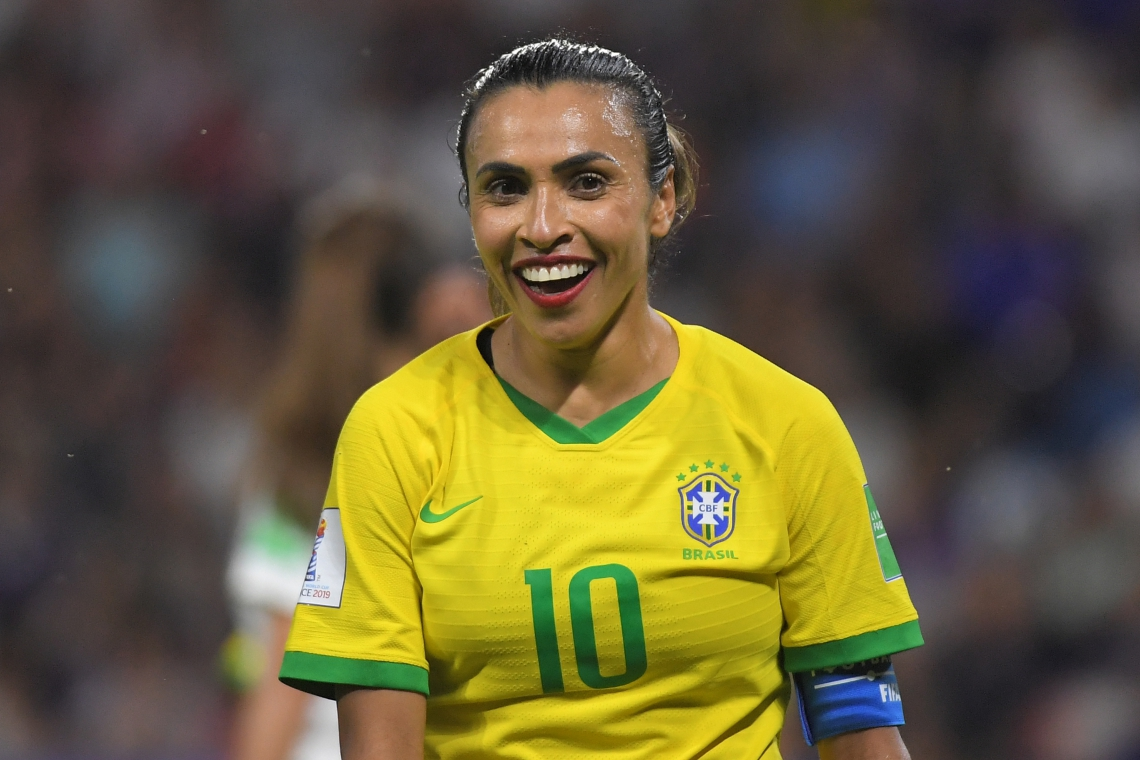 Brazil's forward Marta reacts during the France 2019 Women's World Cup round of sixteen football match between France and Brazil, on June 23, 2019, at the Oceane stadium in Le Havre, north western France. (Photo by LOIC VENANCE / AFP)
