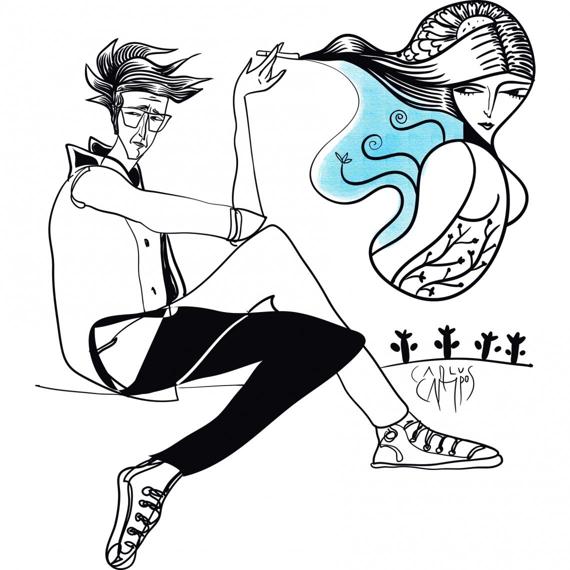 Ilustração de Carlus Campos para conto de Antônio LaCarne