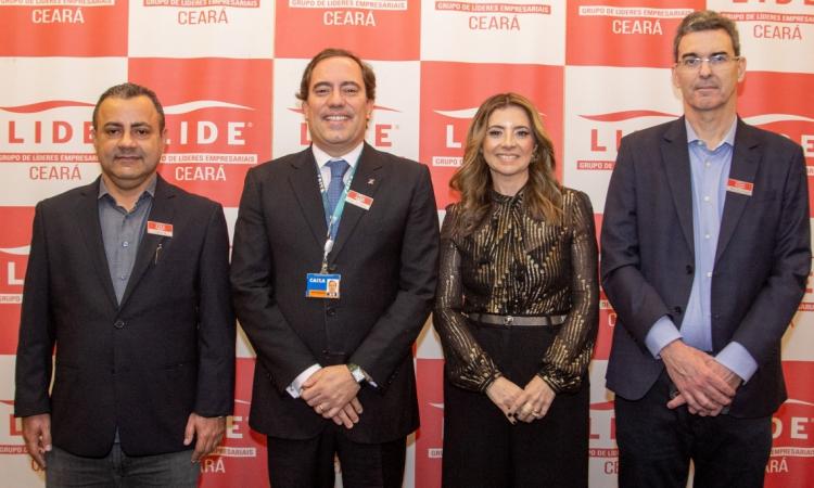 Vicente Araújo Jr, Pedro Guimarães, Emília Buarque e Geraldo Luciano no encontro do LIDE Ceará, que aconteceu no Hotel Gran Marquise